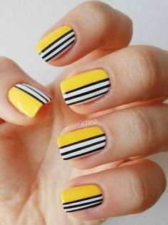 Righe bianche e nere - Nail Art Gialle